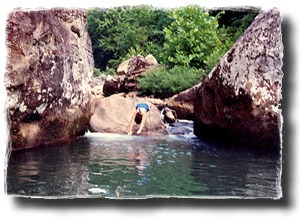 Swimming Among Boulders at our River Retreat